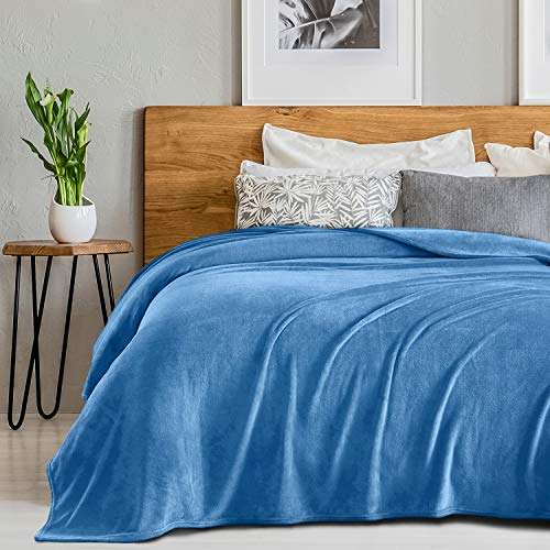 SEDONA HOUSE Flannel Fleece Blanket Throw Size Teal Color – Luxury Microfiber Flannel Material Super Soft Warm Cozy Lightweight Blanket for Bed Couch or Car
