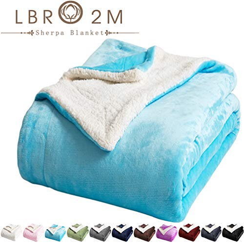 LBRO2M Sherpa Fleece Bed Blanket Queen Size Super Soft Fuzzy Plush Warm Cozy Fluffy Microfiber Couch Throw Velvet Double Reversible Luxurious Blankets Teal, Queen90x90 Inches