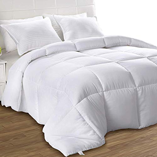 Box Stitched – All Season Comforter – Plush Siliconized Fiberfill Duvet Insert – Utopia Bedding Down Alternative Comforter California King, White