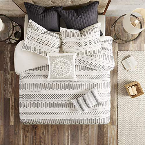 Ink+Ivy Rhea Cotton Jacquard Comforter Mini Set, King/Cal King, Ivory/Charcoal