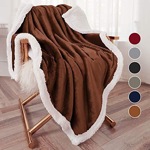 "Bonzy Home Sherpa Throw Blanket, Flannel Throw Blanket Cozy Warm Sherpa Super Soft Fuzzy Fleece Blanket Lightweight 50""x 60"" Throw SizeBrown"
