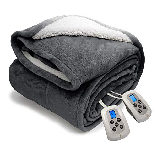 """MARQUESS Queen Electric Blanket Sherpa and Reversible Flannel Washable Heated Comfortable Blanket with 10 Heat Settings/Safety 10 Hours Auto-Off Dual Controllers 84×90""""Grey"""