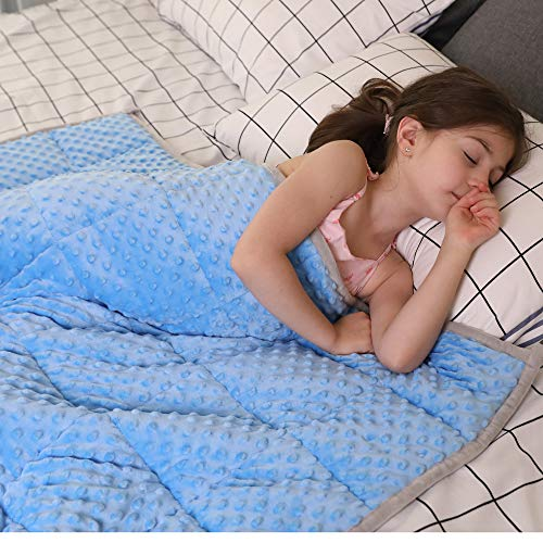 JHMENG Weighted Blanket for Kids 5 lbs, 36″ x 48″ Upgrade Versionn Plush Minky One Piece Design