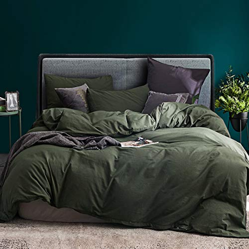 ECOCOTT 3 Pieces Duvet Cover Set Queen 100% Washed Cotton 1 Duvet Cover with Zipper and 2 Pillowcases, Ultra Soft and Easy Care Breathable Cozy Simple Style Bedding Set Avocado Green