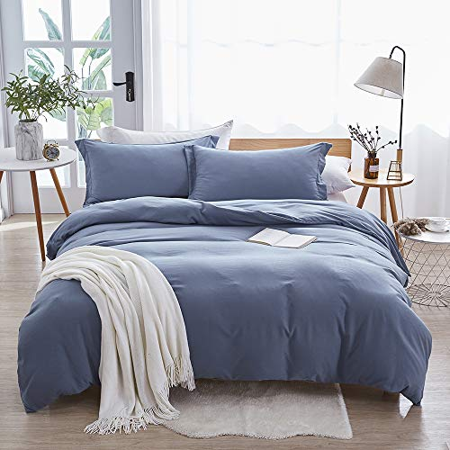Soft and Breathable with Zipper Closure & Corner Ties Haze Blue, King – Dreaming Wapiti Duvet Cover King,100% Washed Microfiber 3pcs Bedding Duvet Cover Set,Solid Color