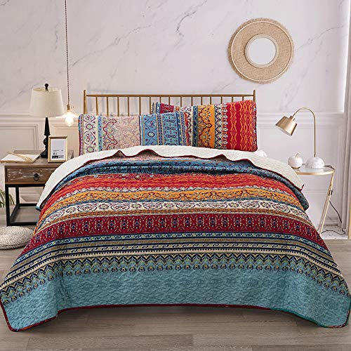 Bohemian Quilt Set King, Boho Striped Pattern Printed Bedding Quilt Coverlet Set, Lightweight Microfiber Bedspread Set for All Seasons 3 Pieces, Colorful