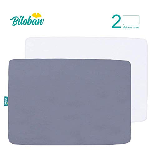 Pack and Play Sheet Fitted, 2 Pack Portable Playard   Mini Crib Sheets, Ultra Soft Microfiber Pack N Play Sheets, White & Grey, Preshrunk