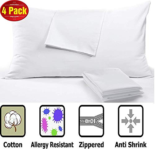 Anti Allergy 4 Pack Cotton Pillow Protectors King 20 x 36″ High 450 Thread Count Style Life Time Replacement Premium Sateen Tight Weave 3-4 Micron Pore Size Lab Tested Zipper Covers 4 Pack King