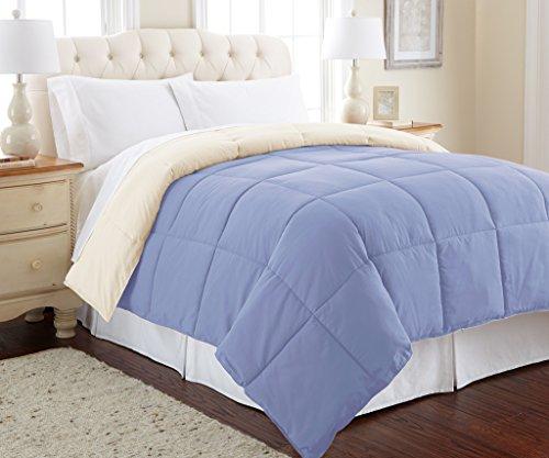 Amrapur Overseas Goose Down Alternative Microfiber Quilted Reversible Comforter / Duvet Insert – Ultra Soft Hypoallergenic Bedding – Medium Warmth for All Seasons – Full/Queen, Blue/Cream
