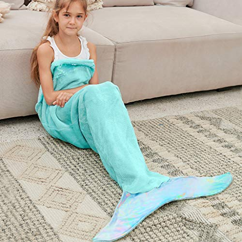 Bonzy Home Kids Mermaid Tail Blanket for Girls, Plush Soft Flannel Fleece All Seasons Sleeping Blanket Bag for Children Mint