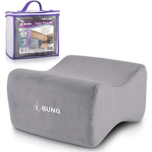 EBUNG Knee Pillow & Leg Pillow for Hip, Back, Leg, Knee Pain Relief – Ideal for Side Sleepers, Pregnancy and Right Spine Alignment -Memory Foam Wedge Contour with Washable Cover