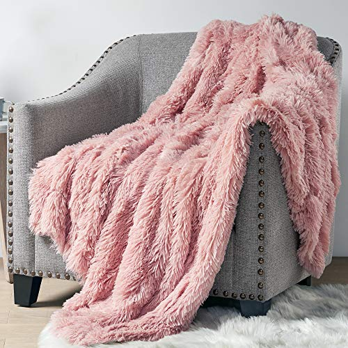 Blush, 50×60 – Hyde Lane Faux Fur Throw Rose Gold Blanket – 2 Way Reversible Fuzzy Pink Blanket | Luxury Shaggy Long Faux Fur & Cozy Mink |