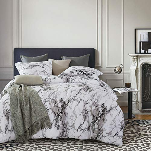 Marble Comforter Set, Gray Grey Black and White Pattern Printed, Soft Microfiber Bedding 3pcs, California King Size – Wake In Cloud