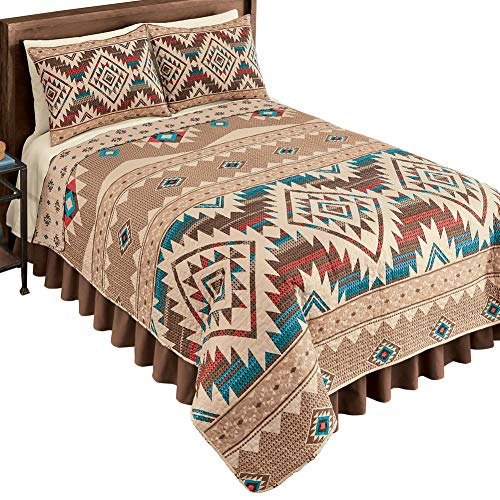 Collections Etc Reversible Southwest Geometric Aztec Quilt with Coordinating Tribal Pattern on Reverse Side, King