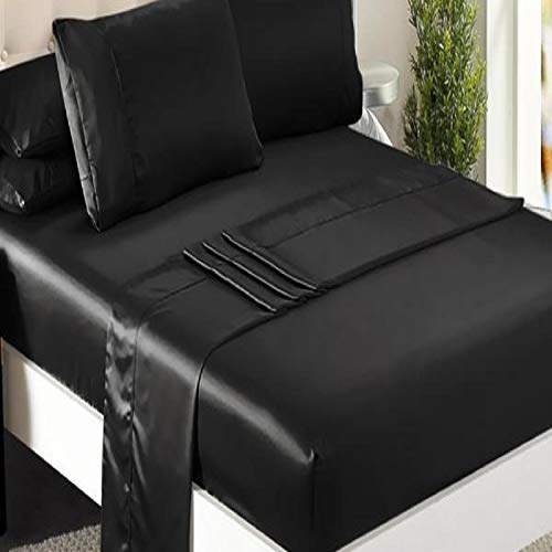 Niagara Sleep Solution Queen Bed Sheet Set 4 Pieces Black Silky Smooth Bridal Satin Deep Pocket Fitted, Flat, 2 Pillow Cases Wrinkle Stain, Fade Resistant Black Satin, Queen