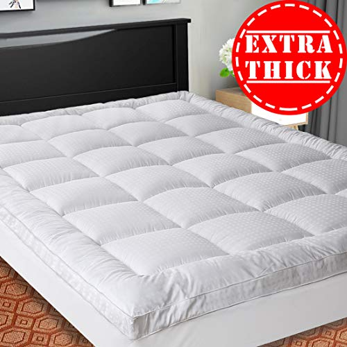 SOPAT Extra Thick Mattress Topper Calking,Cooling Mattress Pad Cover,Pillow Top Construction 8-21Inch Deep Pocket,Double Border,Down Alternative Fill,Breathable