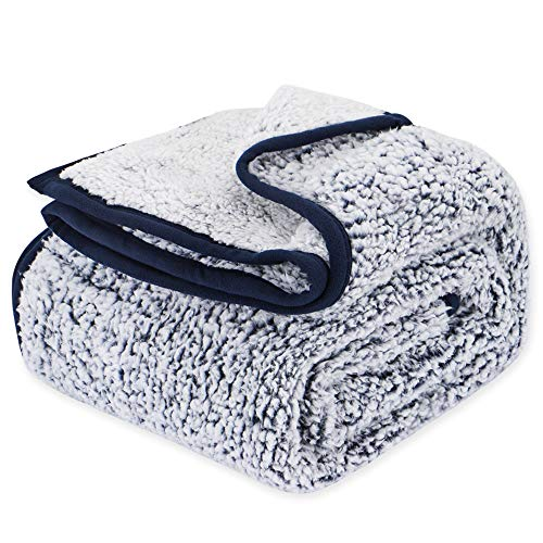 EMME Plush Sherpa Blanket Ultra Soft Warm Microfiber Cozy Blanket for Bed Sofa in Winter Lightweight Fuzzy Thick Reversible Couch Blanket Navy, 60″x80″