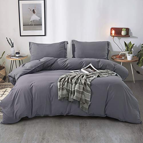 FAIRYLAND 3pc Queen Duvet Cover Set, Ultra Soft Double Brushed Microfiber, Comforter Cover with Zipper Closure and Corner Ties and 2 Pillow Shams, Queen 90″ 90″, Grey.
