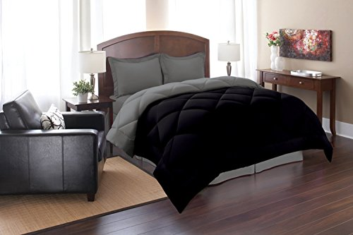 Elegant Comfort Goose Down Alternative Reversible 3pc Comforter Set, King/Cal King, Black/Gray