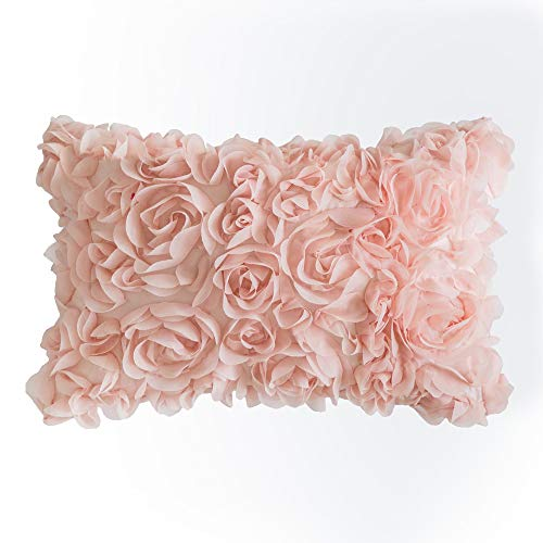 MIULEE 3D Decorative Romantic Stereo Chiffon Rose Flower Pillow Cover Solid Square Pillowcase for Sofa Bedroom Car 12×20 Inch 30x50cm Peach Pink
