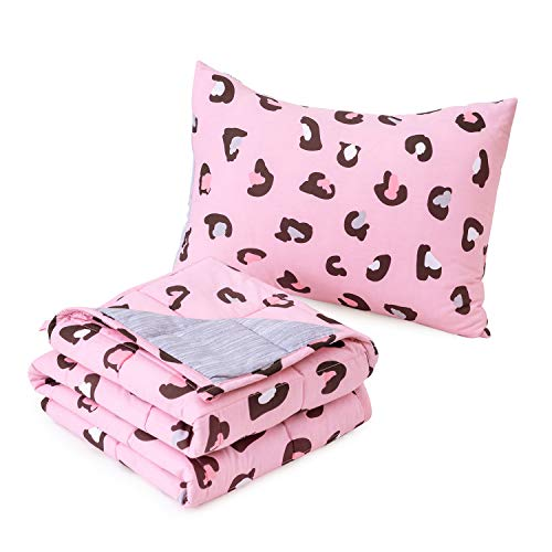 Anjee 5lbs Weighted Blankets for Kids with a Pillowcase, Heavy Blanket with Breathable Cotton Outer Layer Fabric and Cartoon Pattern, Help Better Sleep, 36 x 48 Inches, Pink