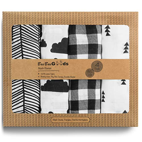 BaeBae Goods Muslin Swaddle Blanket, Black Clouds, Adjustable Infant Baby Wrap Set of 4, Baby Swaddling Wrap Blankets Made in Soft Cotton