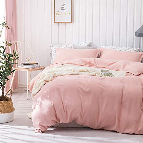 Dreaming Wapiti Duvet Cover Queen, Brushed Microfiber 3pcs Bedding Duvet Cover Set, Soft and Breathable with Zipper Closure & Corner Ties Blush Pink, Queen