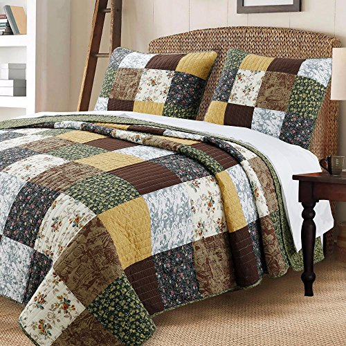 Cozy Line Home Fashions Andy Brown Olive Mustard Yellow Black Real Patchwork Quilt Bedding Set, 100% Cotton Reversible Coverlet, Bedspread Set for Men Women Brown/Olive, King – 3 Piece