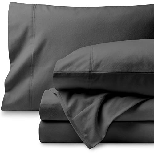 Bare Home Flannel Sheet Set 100% Cotton, Velvety Soft Heavyweight – Double Brushed Flannel – Deep Pocket King, Grey