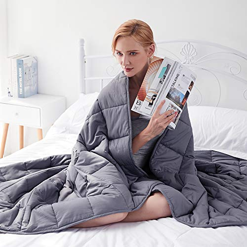 GSLE Weighted Blanket Grey, 48″x72″ Twin Size 15 lbs, Hypoallergenic Cozy Heavy Blanket – Say Goodbye to Restlessness, Usher in a Era of Peace and Fresh Sleep