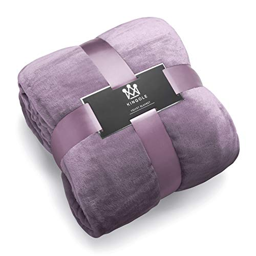 Kingole Flannel Fleece Microfiber Throw Blanket, Luxury Lavender Purple Twin Size Lightweight Cozy Couch Bed Super Soft and Warm Plush Solid Color 350GSM 66 x 90 inches