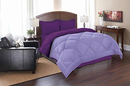 Elegant Comfort Goose Down Alternative Reversible 3pc Comforter Set, Full/Queen, Lilac/Purple