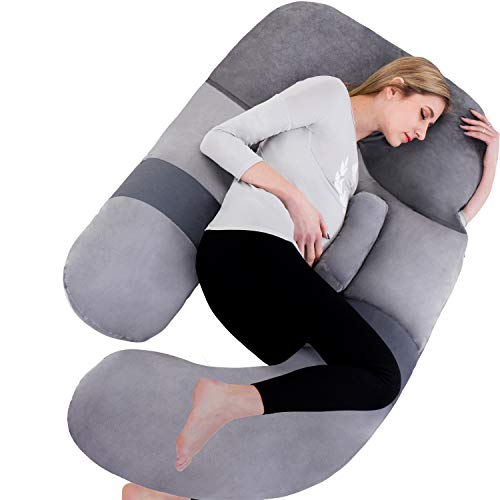 Awesling 60in Full Body Pillow | Nursing, Maternity and Pregnancy Body Pillow | Extra Large U Shape Pillow and Lounger with Detachable Side, Separate Support Pillow and Removable Cover Grey