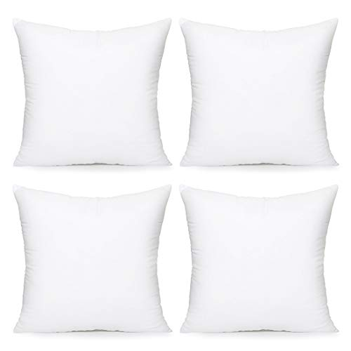 Acanva Throw Pillow Inserts Decorative Stuffer Soft Hypoallergenic Polyester Couch Square Form Euro Sham Cushion Filler, 22″-4P, White, 4 Piece