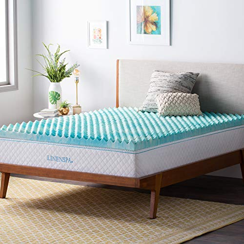 Queen, LS30QQ30CSGT – Linenspa 3 Inch Convoluted Gel Swirl Memory Foam Mattress Topper – Relieves Pressure Points – Promotes Airflow
