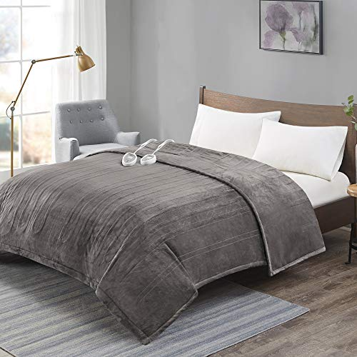 ADVANCED Plush Electric Blanket King Size Dual Control, Washable Heated Blankets with Auto Shutoff, Preheat, 20 Heat Levels| UL Certified & EMF Radiation Safe| Lower Your Energy Bill – Grey