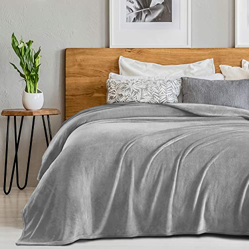 SEDONA HOUSE Flannel Fleece Blanket 280GSM Luxury Microfiber Flannel Super Soft Warm Fuzzy Cozy Lightweight Blanket for Bed Couch or Car Color Grey Size Queen 90″x90″