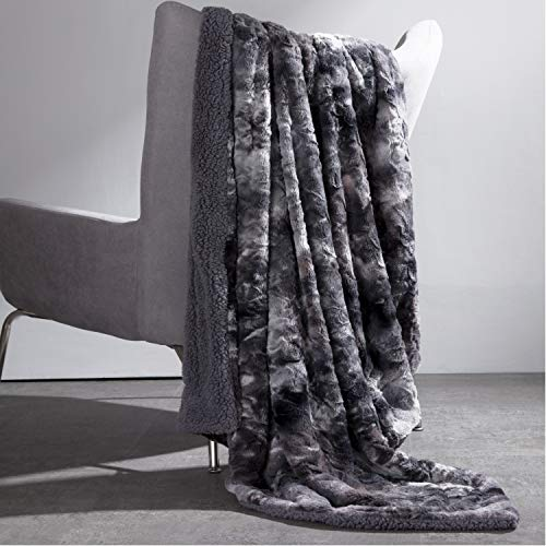 Bedsure Super Soft Fuzzy Faux Fur Reversible Tie-dye Sherpa Twin Size Throw Blanket for Sofa, Couch and Bed – Plush Fluffy Fleece Blanket as Gifts 60×80 inches, Dark Grey