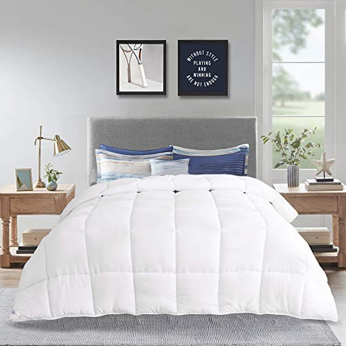 LOVTEX Quilted Down Alternative Duvet Insert Queen- All Season Warm White Comforter with 8 Coner Tabs, 88″x92″