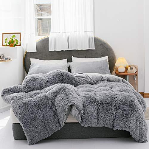 YIRDDEO 3 Pieces Fur Bedding Set, Shaggy Fluffy Duvet Cover, Velvet Ultra-Soft Microfiber, Solid ColorGrey, Queen