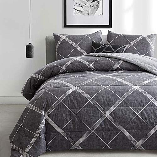 ATsense Queen Comforter Set, 3-Piece 100% Cotton Fabric, Soft Microfiber Overfilled Bedding, Lightweight Alternative Reversible Duvet Insert for All Season Grey, MY005