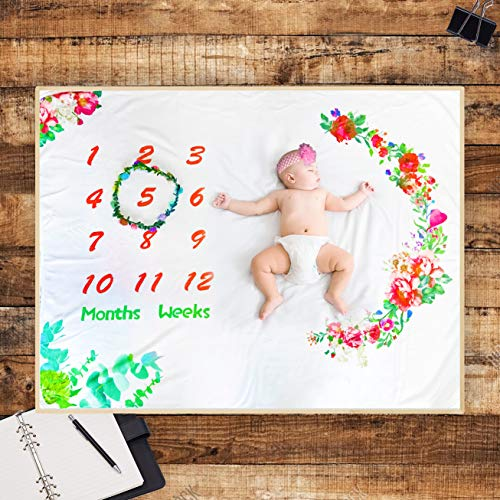 Sinohrd Baby Monthly Milestone Blanket, Organic Ultra Soft Monthly Photography Backdrop Memory Blanket for Newborn Baby Girl |1 to 12 Months (40 x 50 inches)
