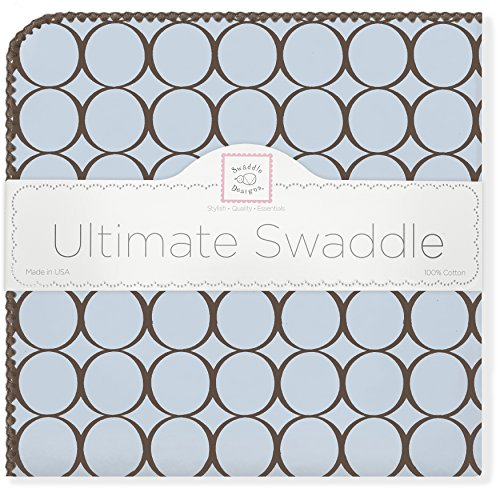 SwaddleDesigns Ultimate Winter Swaddle, X-Large Receiving Blanket, Made in USA, Premium Cotton Flannel, Brown Mod Circles on Pastel Blue Mom's Choice Award Winner