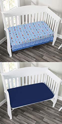 Rescue/Blue – EVERYDAY KIDS 2 Pack Fitted Boys Crib Sheet, 100% Soft Microfiber, Breathable and Hypoallergenic Baby Sheet, Fits Standard Size Crib Mattress 28in x 52in, Nursery Sheet