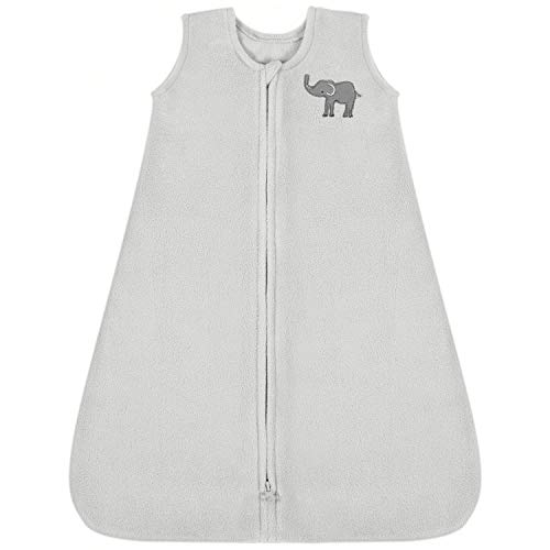 TILLYOU All Season Micro-Fleece Baby Sleep Bag and Sack with Inverted Zipper, Fits Infants Babies Ages 6-12 Months, Sleeveless Warm Soft Wearable Blanket TOG 1, Medium M, Gray Elephant