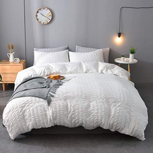 M&Meagle 3 Pieces White Duvet Cover Textured Set with Zipper Closure,100% Washed Microfiber Seersucker Fabric,Luxury Hotel Quality Bedding-Queen Size1 Duvet Cover 2 Pillowcases