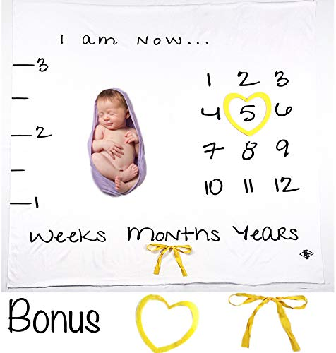 Milestone Blanket | Easy Layout for Creative Photos | Beautiful Large Soft Plush Fleece Blanket for Boy or Girl | Photography Backdrop | Record Weeks Months and Years |