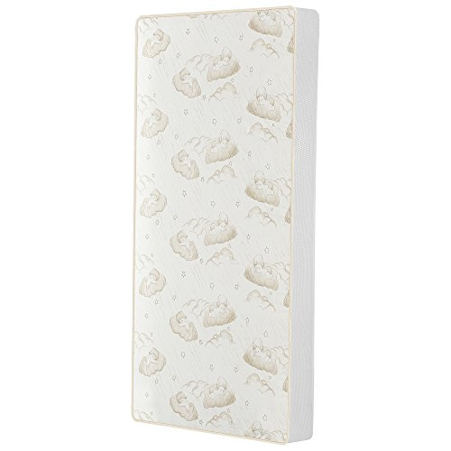Dream On Me 2-in-1 Breathable Twilight 5″ Spring Coil Crib and Toddler Bed Mattress with Reversible Design, White/Brown