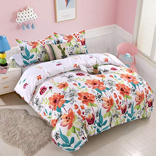 YMY Lightweight Microfiber Bedding Duvet Cover Set, Floral Printing Pattern White, Queen