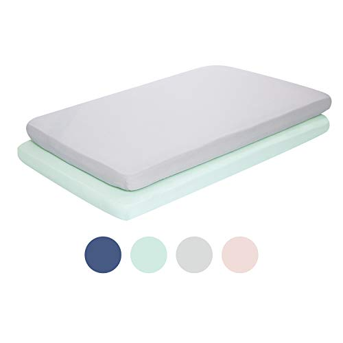 TILLYOU Jersey Knit Mini Portable Crib Sheets, Pack and Play Sheet Set for Boys Girls, Ultra-Soft Breathable Playard Playpen Sheets, 2 Pack, Lt Green & Lt Gray
